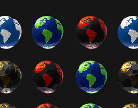 3D model 16 Animated Low Polygon Art Planets Earths