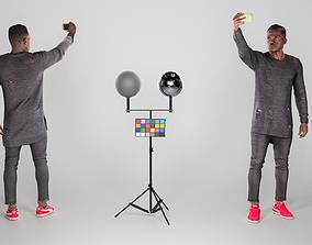 3D asset Young african man making selfie 208