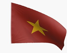 North Vietnam Flag 3D model