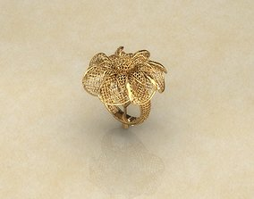 Fan Flower Electro-Fusion Fashion Ring 3D printable model