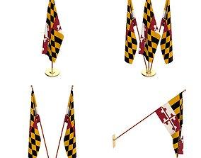 Maryland Flag Pack 3D model