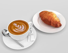 3D model Verona Cappuccino Coffee Cup with croissant set 1