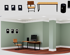Simple Industrial Office Furniture Set Pack Low 3D model 1