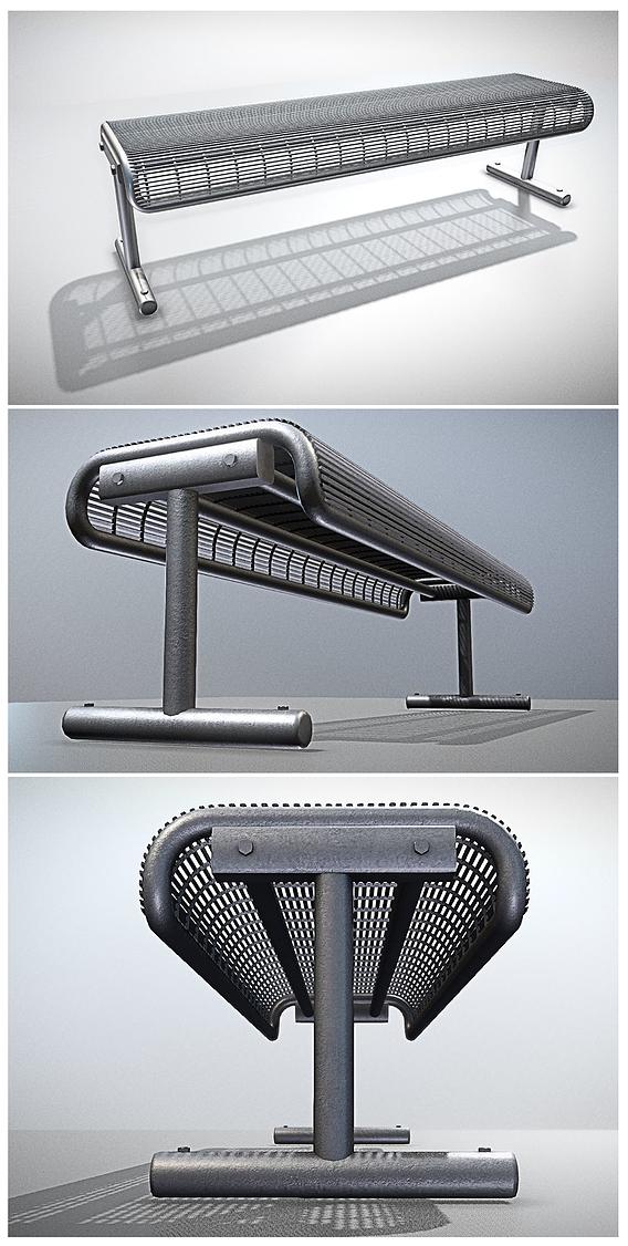 Metallic Wireframe Street Bench