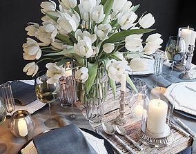 Table setting with white tulips 3D