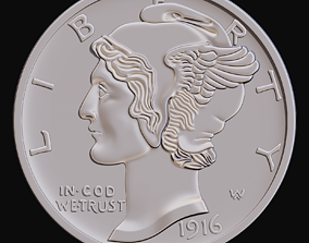 3D printable model Mercury Dime 1916 for CNC Router and