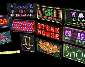 3D asset Neon Sign Pack City Environment Street Element 3