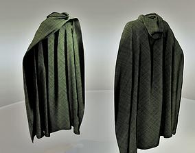 3D model Green Hooded Medieval Cloak