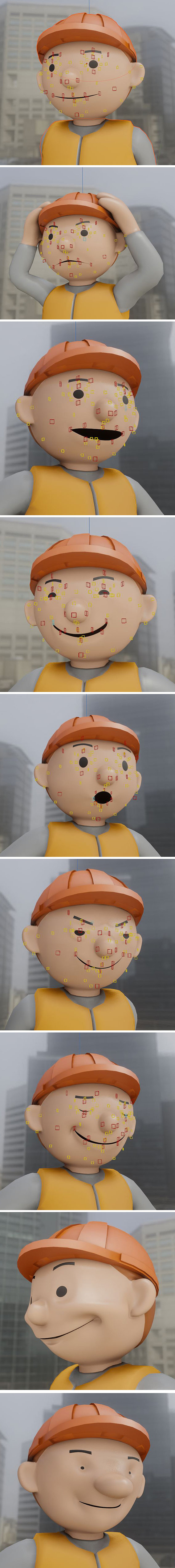 Cartoon Construction Worker Face Rig Tests (Rigify) Blender-2.90.1