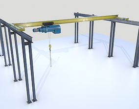3D model Overhead - Bridge - Warehouse Crane