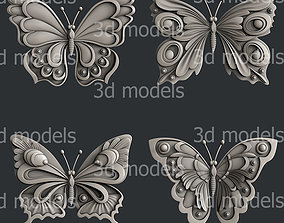 wing 3d STL models for CNC router set butterfly