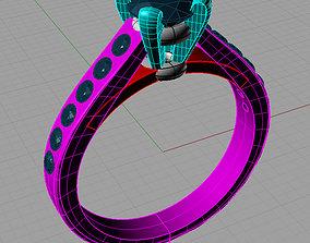 Channel Set Diamond Anello solitario Sl03 3D print model