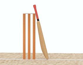 Cricket Crease Bat Stump And Bail 3D asset
