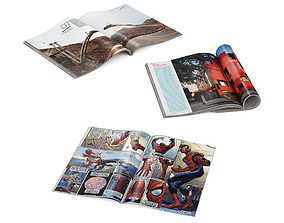 Open magazines and comic book 3D