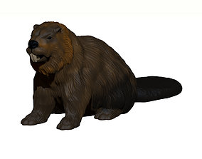 Beaver 3D print model sculpture