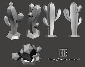 Stylized cactus sculpture - 3D printable model