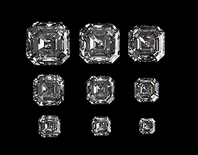 Diamond Asscher Different Sizes 3D