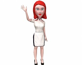 3D model Waitress stylized rigged animated game ready 1
