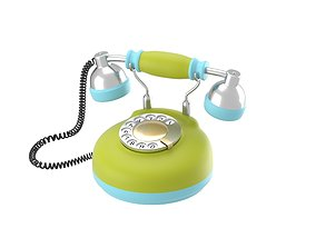 Corded retro phone in bright colors 3D
