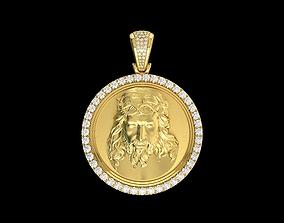 Yellow Gold Jesus Medallion Diamond 3D printable model