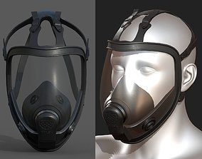 3D model Gas mask black protection futuristic technology