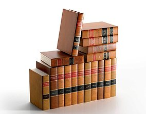 3D Set of Antique American Leather Bound Law Books