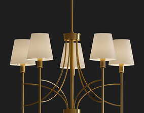 Millau Collection 5 Light Satin Gold Chandelier 3D model