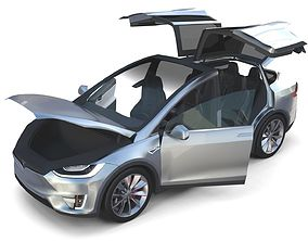 3D Tesla Model X Silver with interior