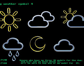 3D asset Low poly weather symbol 4