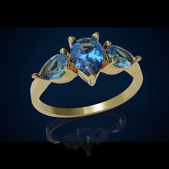Three gemstone ring