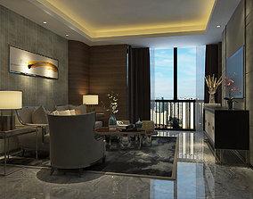Modern Luxury Hotel Suite Living Room Design 3D model