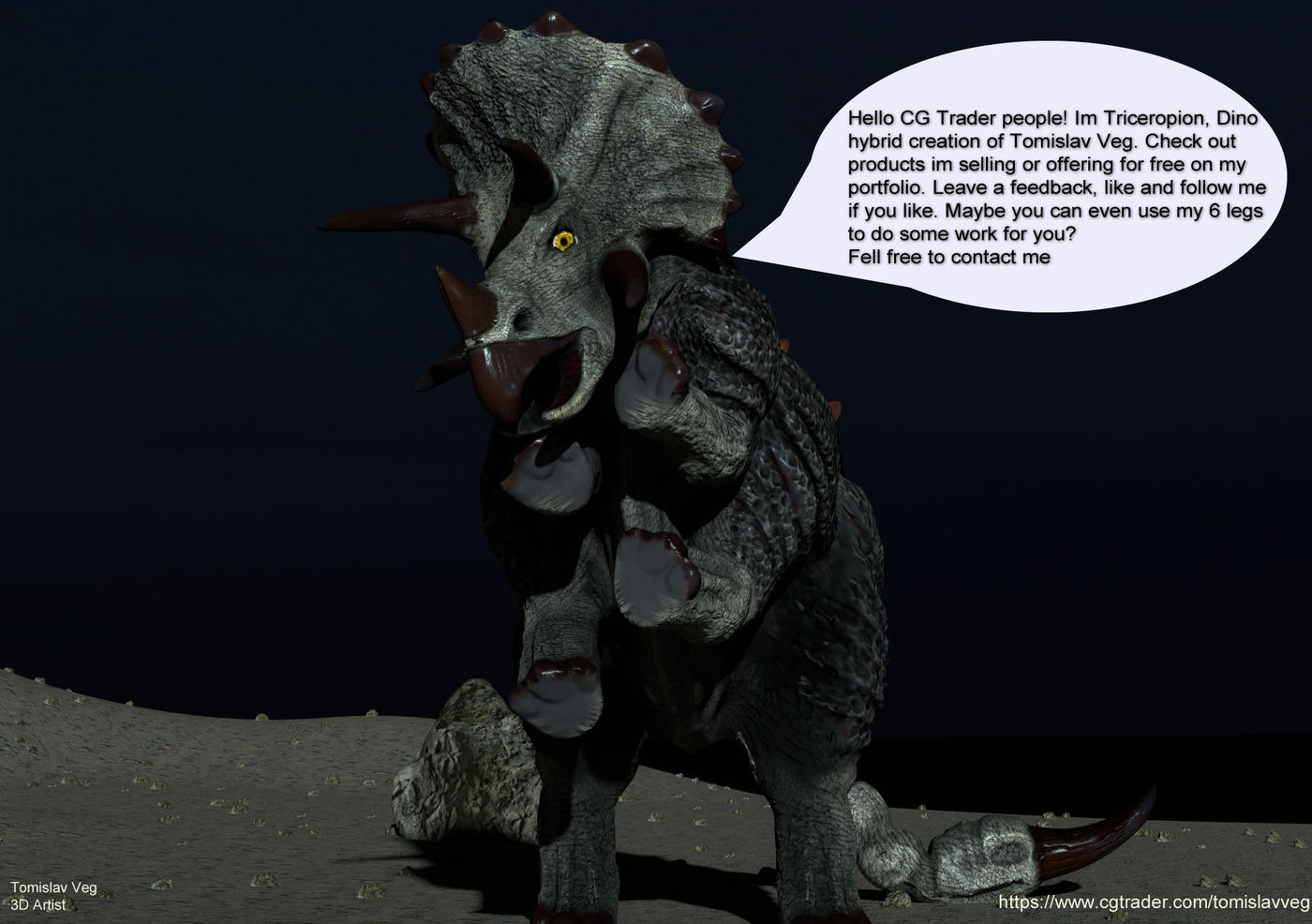 Dino Hybrid Triceropion | CGTrader