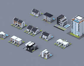 3D model game-ready Low poly House and Apartment pack