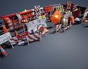 Barriers and Barricades 3D asset game-ready