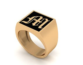 Old English Letter Ring M 3D printable model