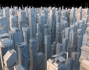 3D model 30 LOW POLY Sci-Fi Skyscrapers Pack