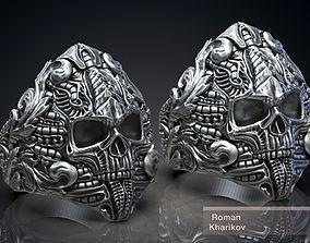 Ring Skull Biomechanics Victorian STL 3d model for 3d