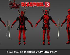 v-ray VR / AR ready Deadpool 3D models Low Poly