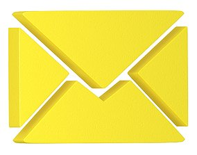 Message Letter Icon yellow 3D