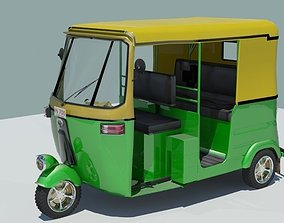 3D Indian auto Rickshaw Green