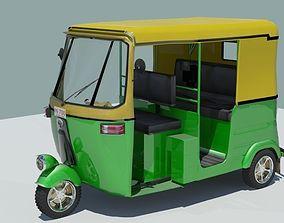 3D Indian auto Rickshaw Green