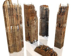 buildings Skyscrapers in ruins 3D model
