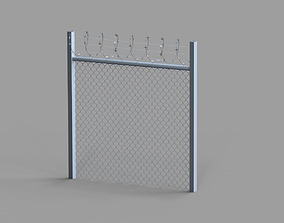 Fence with barbed wire 3D asset