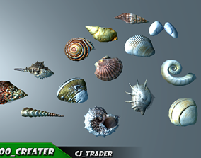 Lowpoly Under Water Shell Collection Pack 3d low-poly
