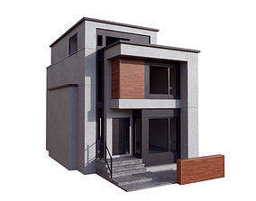 3D asset low-poly House Modern Villa 01