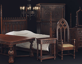 3D asset low-poly Gothic Furniture Collection