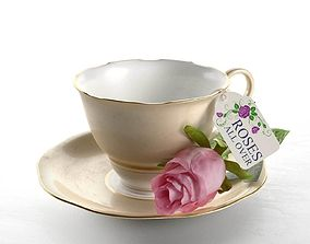 Composition Tea Cup and Rose 3D model