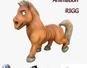 3D asset animated realtime PBR Horse