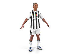 Soccer Player Juventus with Hair 3D Model