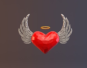 Low Poly Angel Heart 3D asset